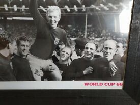 1966 FOOTBALL WORLD CUP FINAL WEMBLEY TROPHY BOBBY MOORE PICTURE FRAMED