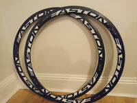 Wheels for Road Racing Bike Easton EC90SL carbon fibre rim set. RIMS ONLY. No spokes or hubs