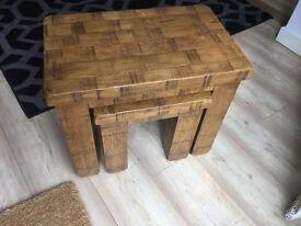 Ripley solid oak nest of tables
