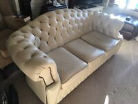 Cream Leather Three Person Sofa, Chesterfield Style