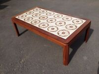 LARGE SOLID TEAK WOOD \ TILE TOP COFFEE TABLE ~ 4.5ft WIDE