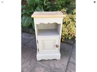 Solid Pine Painted Bedside Table / Cabinet