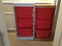 X1 white and x3 wood Ikea Trofast storage units all with 3 red drawers
