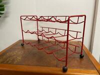 Retro mid century atomic wine rack in red - Tomado style