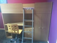 Shorty Cabin Bed in beech effect with desk area, wardrobe and drawers. Deluxe Mattress and chair.