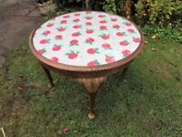 VINTAGE ROUND COFFEE TABLE WITH CATH KIDSTON COVERING