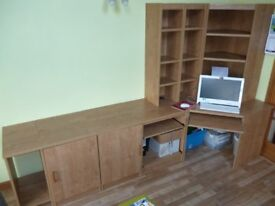 solid oak selction of 8 pieces of office furniture