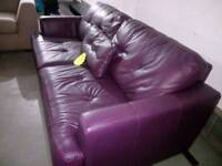 Stunning purple leather 3 seater sofa in excellent condition