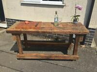 Vintage solid wood work bench now a gorgeous kitchen island