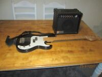 ENCORE COASTER BASS GUITAR AND HOHNER INTERNATIONAL PANTHER 40 W AMP