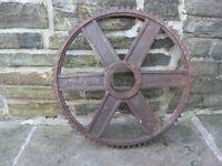Barn Find Big Old Mill Cog Sprocket For Garden Workshop Pub Vintage Classic Retro Shop