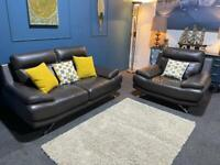 Brown leather suite 2 seater sofa and armchair