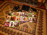 XBOX 360 slim + kinect, controller, headset, 18 games