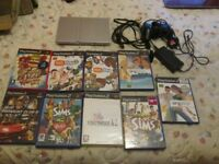 SILVER PS2 SLIMLINE CONSOLE BUNDLE,POWER SUPPLY,AV LEAD,9 GAMES WHICH ARE SINGSTAR,SINGSTAR PARTY,