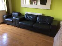 Black leather lounge 3 seater settee sofa and chair