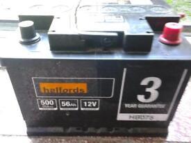 HALFORDS 56 AMP HOUR CAR/VAN BATTERY AS NEW
