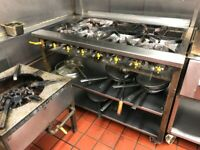 Commercial 6 burner cooker with spice stand