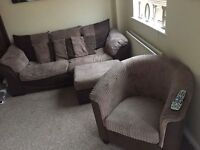 3 piece suite, chair & footstall