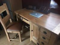 Desk oak table and chair