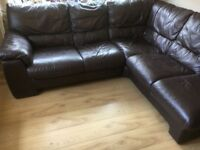 Brown leather corner sofas, vgc can deliver