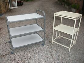 TWO STURDY GARAGE WORKSHOP SHELVING ONE ON WHEELS STEEL FRAMED