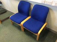 Pair of blue fabric & beech office reception chairs