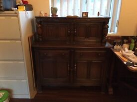 Vintage Ercol Old Colonial Solid Wood Court Cupboard Dresser Sideboard Buffet - ONO