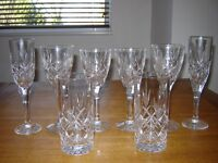 SET OF LEAD CRYSTAL WINE & CHAMPAGNE GLASSES - NEVER USED