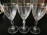 3 crystal wine glasses
