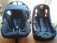BABY CAR SEAT,MOTHERCARE WITH HOOD + SUREFIX BASE,UNIVERSAL,SUITABLE FROM NEW BORN TO 15 MONTHS OLD