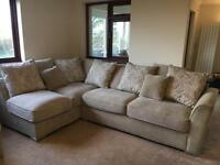 Corner sofa, footstool and snuggle chair