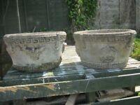 Two stoneware flower tubs