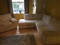 Corner Sofa and Armchair - Cream Corner Sofa With Matching Armchair 1 yr old