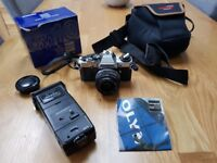 Olympus OM10 35mm SLR Film Camera with 35mm lens Kit and extras