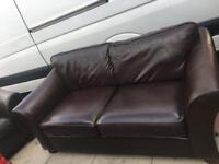 2 2 seater leather chocolate brown sofa set