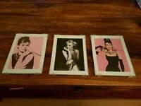 Three marilyn monroe and audrey hepburn frames