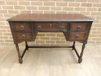 Old Charm Quality Oak Desk with Leather Top + Key (UK Delivery)