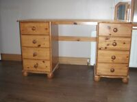 Pine Desk with 8 Drawers - Open to reasonable offers.