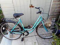 vintage ladies teal blue La rivier 19 inch frame bike with lock