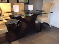 Glass Dining Table with Walnut Effect Base and Six Cream Faux Leather Chairs, Excellent Condition!