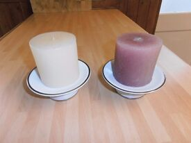 A Pair of 3 inch diameter Candles , come with Ceramic Bases