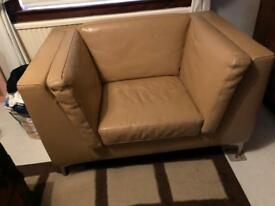 Large Cream Leather Chair