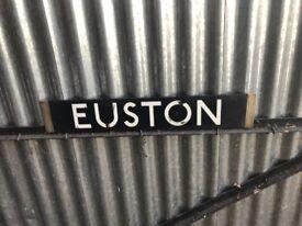 VINTAGE LONDON UNDERGROUND TUBE TRAIN DESTINATION BOARD EUSTON & FINSBURY PARK