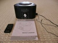 PURE Chronos CD Series II DAB Clock Radio - Black with CD Player & PowerPort for Charging Devices