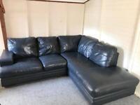 Reid's dark brown , full leather .. grey blue corner Sofa Suite