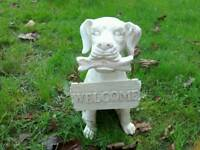 Dog With Welcome Sign