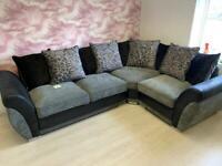 Black & Grey Corner Sofa ** EX DISPLAY **