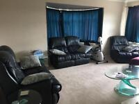 Recling black Leather Sofa 2 x2 sweaters and 1 armchair - DFS- GRAB A BARGAIN