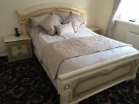 ITALIAN BED FRAME WITH BED AND TWO SIDE CUPOARDS WITH DRAWS