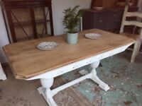 Oak Hand Painted & Waxed Dining Table Vintage
